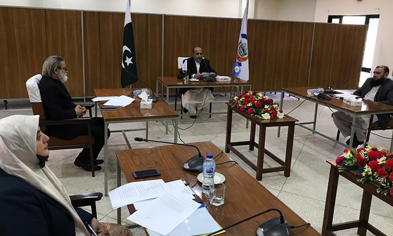 CII Chairman Dr Qibla Ayaz (C) chairs an emergency meeting of the council on Thursday. — Photo by author
