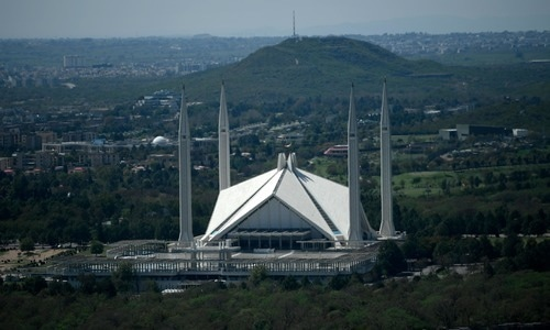 General view of the deserted Grand Faisal Mosque on March 22 amid concerns over the spread of the novel coronavirus.  — AFP/File