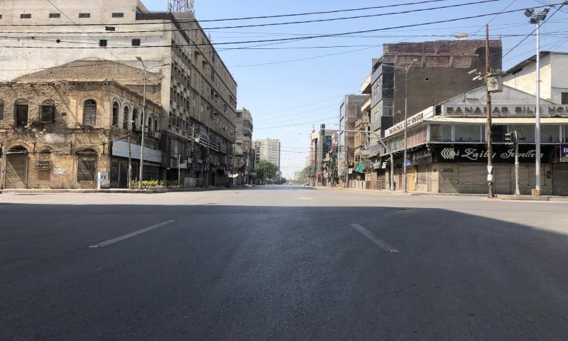 Karachi's Zaibunnisa street is seen devoid of traffic on Friday. — Photo courtesy Shahzeb Ahmed