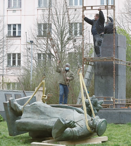 The statue of a Soviet World War II commander Marshall Ivan Stepanovic Konev is being removed from its site in Prague.—AP
