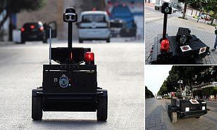 Known as PGuard, the 'robocop' is remotely operated and equipped with infrared and thermal imaging cameras. — Daily Mail