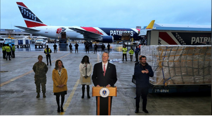 Massachusetts Governor Charlie Baker speaks in a hangar after New England Patriots Boeing 767-300 jet arrived with a shipment of over one million N95 masks from China at Logan Aiport, Boston, Massachusetts, US, April 2. — Reuters