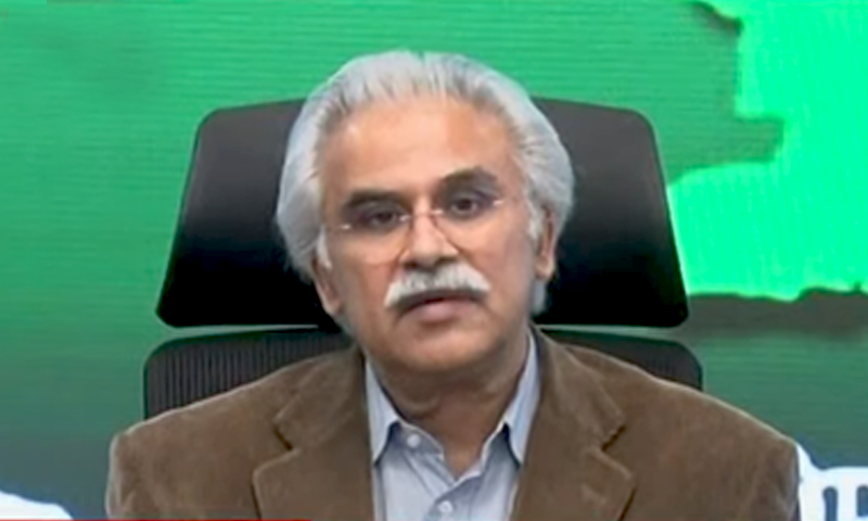 Adviser to the Prime Minister on Health Dr Zafar Mirza addresses the media. — DawnNewsTV