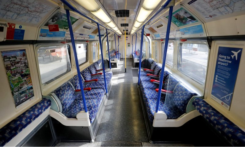 A deserted compartment of the Piccadilly Line tube in London. — AP
