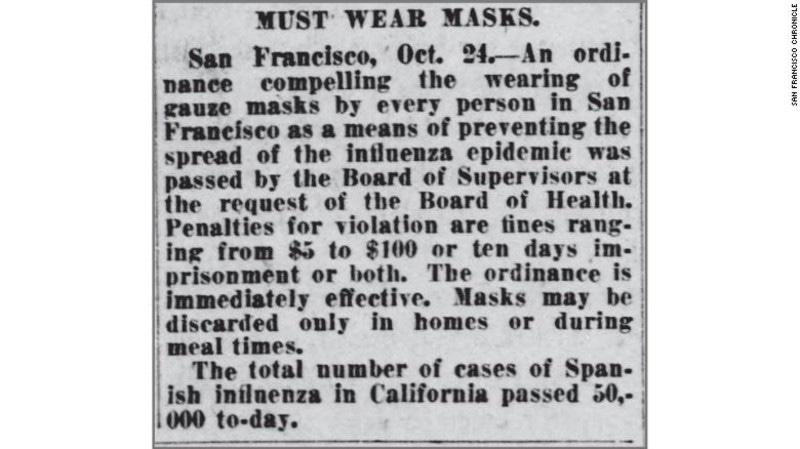 100 سال قبل سان فرانسسکو حکومت نے فیس ماسک نہ پہننے پر جرمانہ عائد کرنے کا قانون نافذ کیا تھا—فوٹو: سی این این