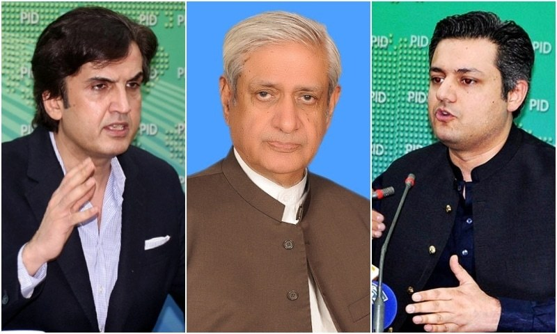 Khusro Bakhtiar (L), Syed Fakhar Imam (C) and Hammad Azhar have been given new positions in yet another cabinet reshuffle. —
