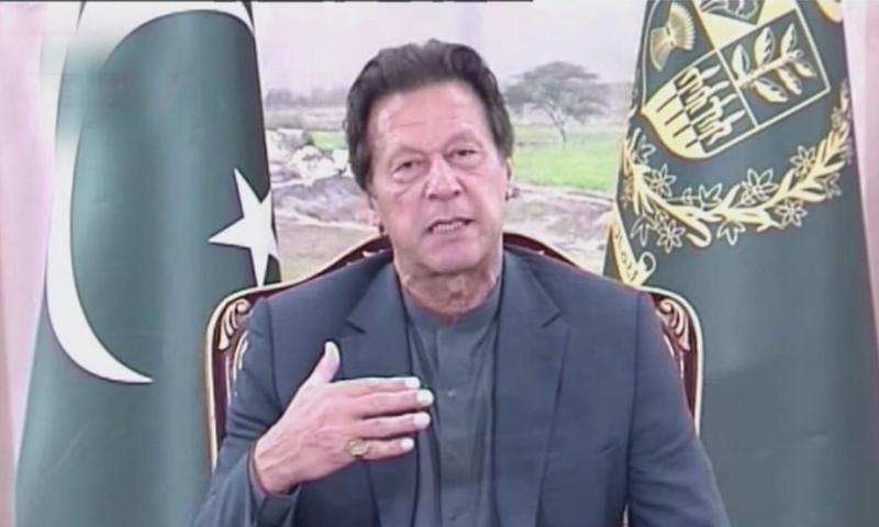 Prime Minister Imran Khan speaking to the media in Islamabad. — DawnNewsTV