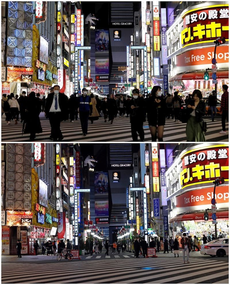 A combination picture shows passersby wearing protective face masks walking at Kabukicho entertainment and shopping district in Tokyo, Japan on March 27, 2020, and the same spot on April 8, 2020, as less than usual passersby are seen on the street after the government announced a state of emergency for the capital, following an outbreak of the coronavirus disease. — Reuters