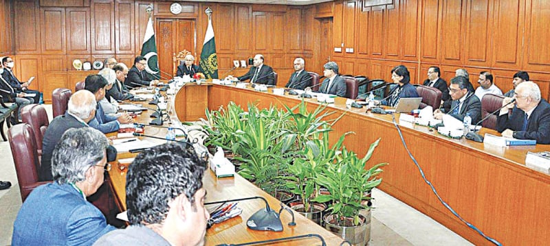 Chief Justice of Pakistan Gulzar Ahmed presiding over a meeting on preventive measures for Covid-19.—APP