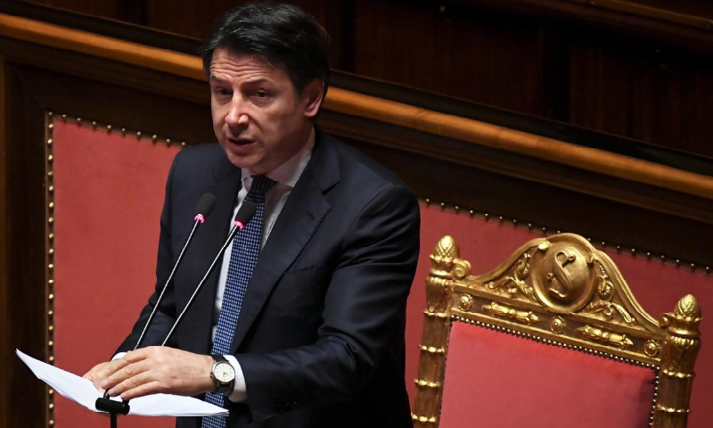 Italian Prime Minister Giuseppe Conte addresses the Senate, the upper house of parliament, on the spread of Covid-19, in Rome, Italy, March 26. — Reuters