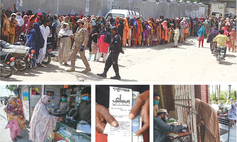 (Clockwise) Women stand in a queue in Hyderabad for receiving money under the Ehsaas programme. In Peshawar, a burqa-clad woman goes through a biometric verification process before collecting cash. A woman in Islamabad shows the receipt after receiving money while another picture from Islamabad shows a woman undergoing the identification process at a private centre.—Online / AFP