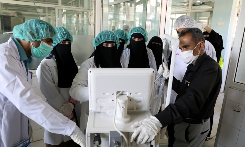 Nurses receive training on using ventilators at the intensive care ward of a hospital allocated for coronavirus patients in preparation for any possible spread of the disease in Yemen April 8. — Reuters