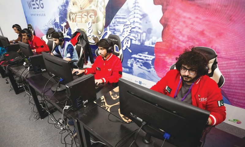 Pakistan's team of Musawer Khan (Ghost Khan), Shiraz Akhter (Sh1zzy), Mohammad Ahsan Hameed (Arrow), Mohammad Ibrahim (KSG) and Mohammad Shehwar (T1tan) during the World Electronic Sports Games (WESG) Asian qualifiers in China in 2018