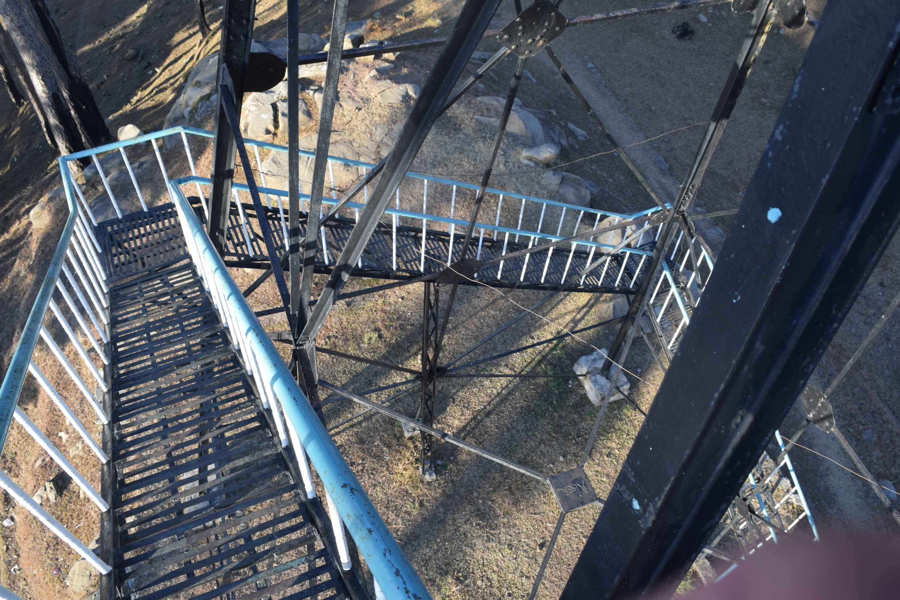 The stairs going up to the fire tower.