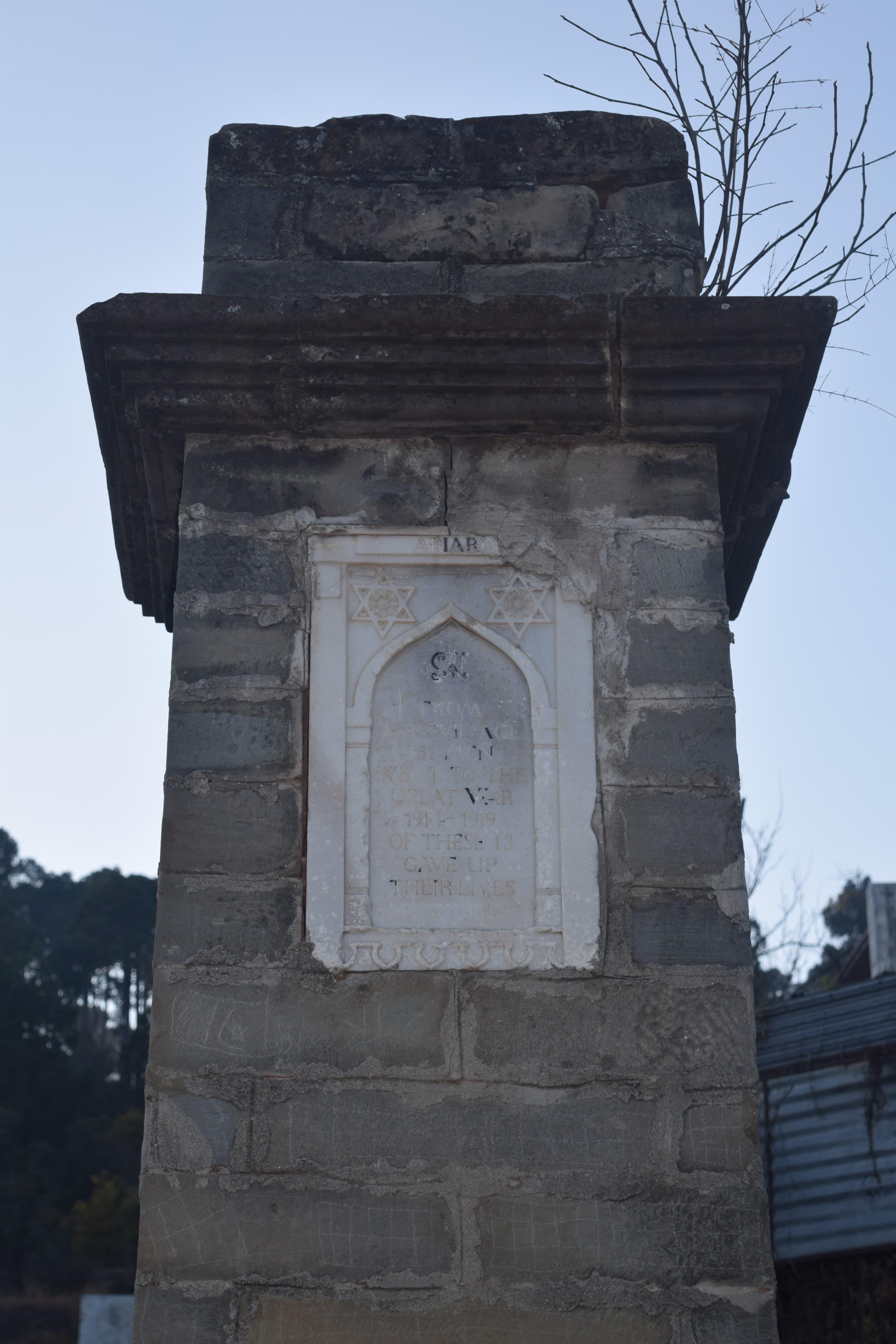 The World War I memorial at Ariari.
