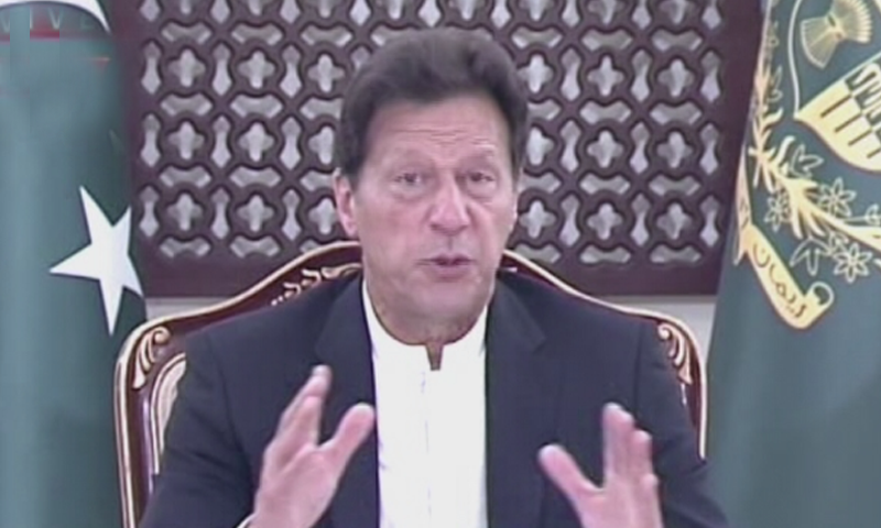 Prime Minister Imran Khan addresses the media on Tuesday.  — DawnNewsTV