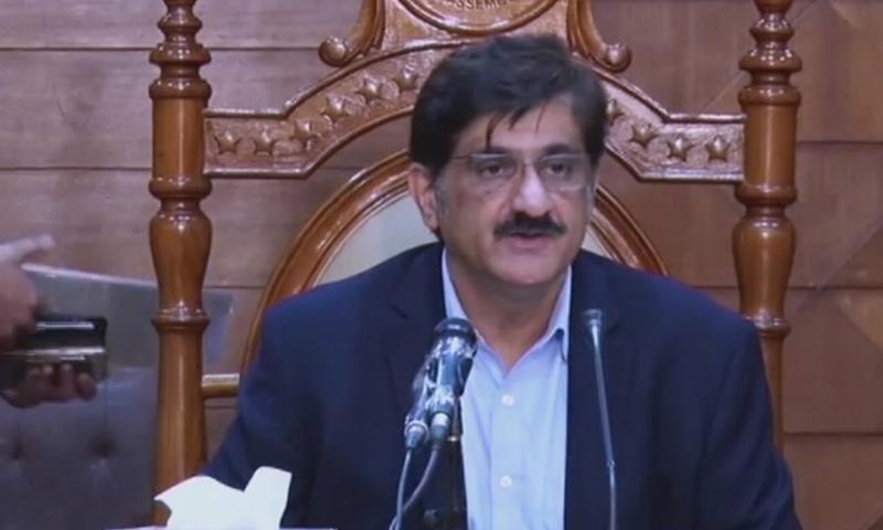 وزیر اعلیٰ سندھ مراد علی شاہ  کراچی میں پریس کانفرنس کر رہے تھے - فوٹو:ڈان نیوز