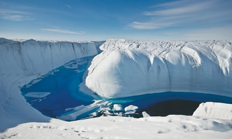 A MELTWATER canyon on the ice sheet.