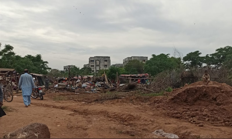 A view of the kutchi abadi after huts of 75 families were razed there. — Photo courtesy: Ammar Rashid Twitter
