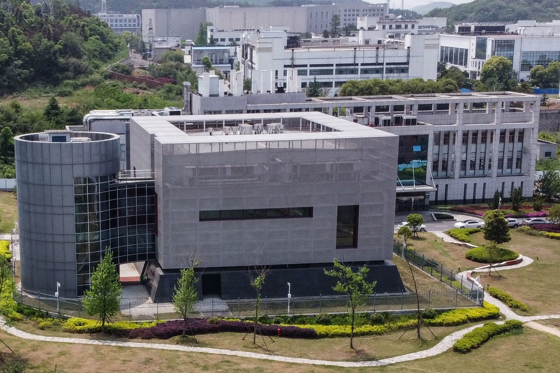 An aerial view shows the P4 laboratory at the Wuhan Institute of Virology in Wuhan in China's central Hubei province on April 17, 2020. - The P4 epidemiological laboratory was built in co-operation with French bio-industrial firm Institut Merieux and the Chinese Academy of Sciences. The facility is among a handful of labs around the world cleared to handle Class 4 pathogens (P4) - dangerous viruses that pose a high risk of person-to-person transmission. (Photo by Hector RETAMAL / AFP) — AFP or licensors