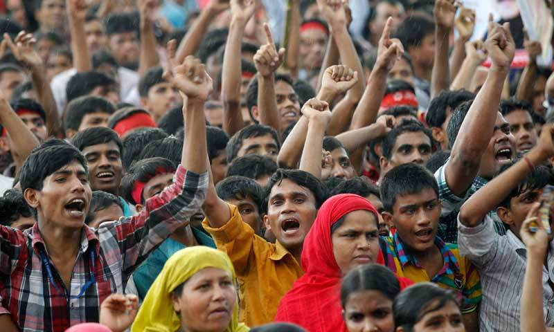 Garment workers in Bangladesh protested on Saturday against non-payment of wages amid the Covid-19 lockdown. — AFP/File