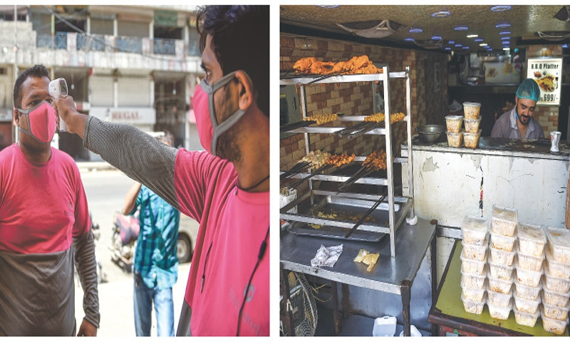 An employee of a food delivery service gets his temperature checked before starting work and (right) a restaurant worker prepares takeaway meals on Saturday after the Sindh government allowed eateries to deliver food to customers.—AFP