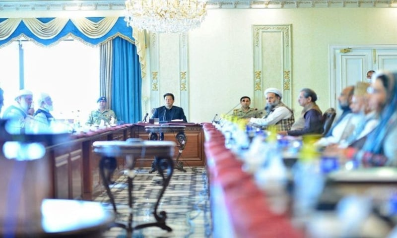 Prime Minister Imran met a delegation of prominent ulema and religious leaders on Monday to discuss coronavirus measures. — via PTI Twitter
