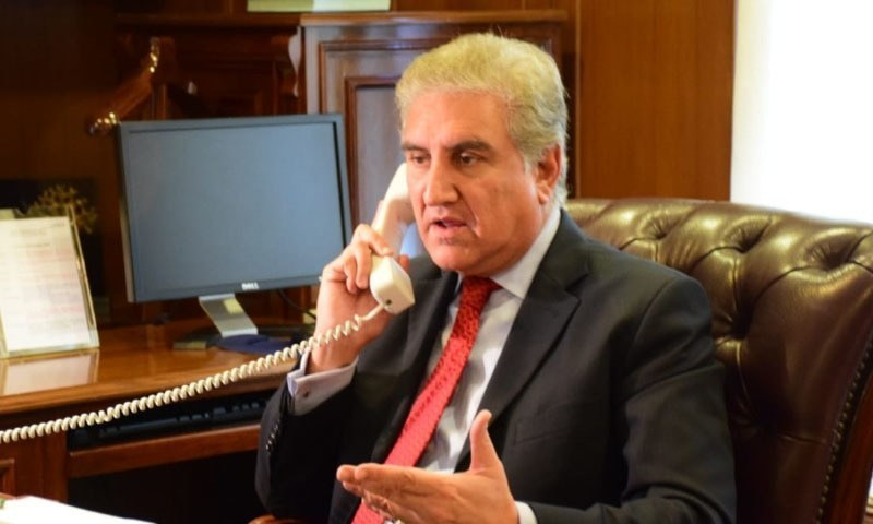 Qureshi discusses with his Afghan counterpart ways for promoting economic cooperation. — FM's office/File
