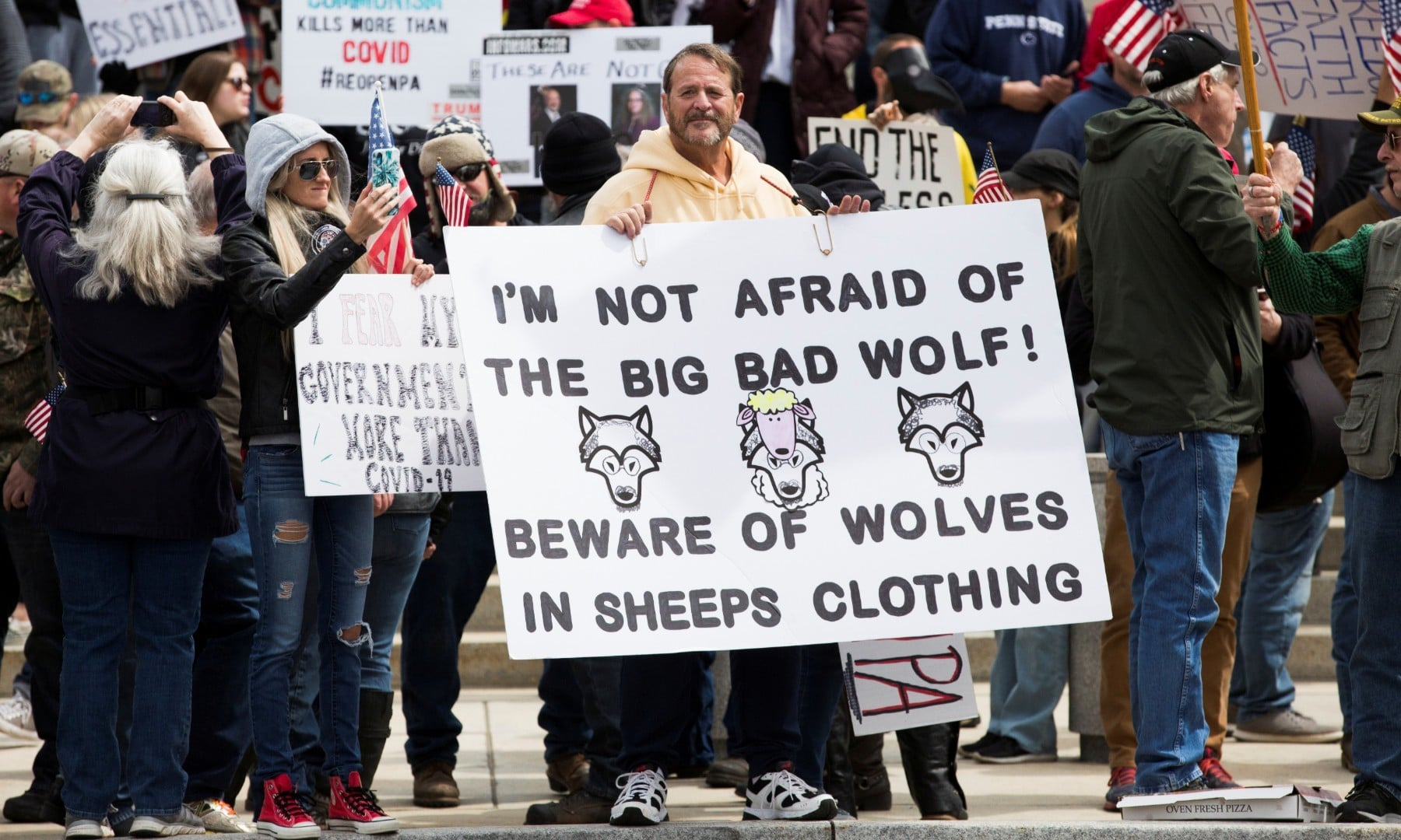 Demonstrators gather to protest against Pennsylvania's stay-at-home order to help slow the spread of Covid-19 on April 20. — Reuters