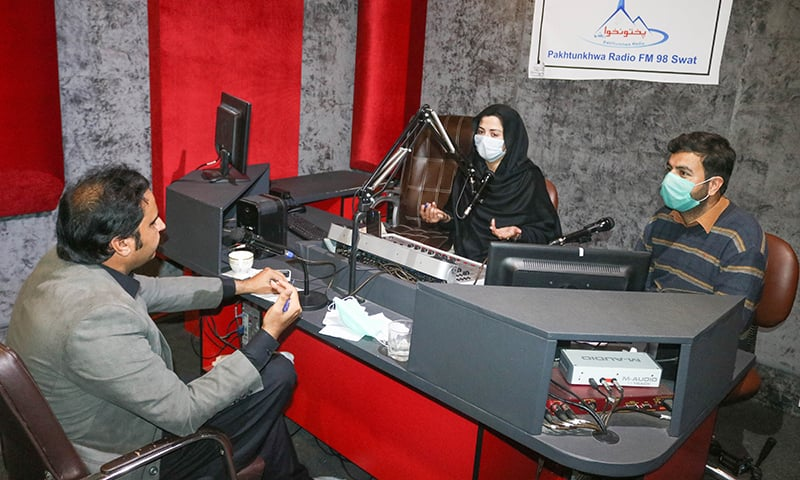 A view of the 'radio clinic' programme broadcast on Pakhtunkhwa Radio FM 98 during the coronavirus pandemic. — Photo by author
