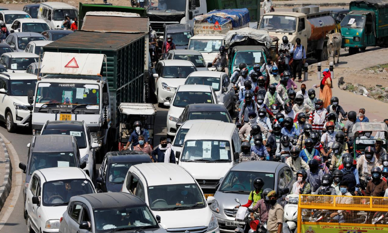 Vehicles queue in a long traffic jam at Delhi-Ghaziabad border after local authorities stopped vehicular movement except for essential services during an extended lockdown to slow the spreading of Covid-19 in New Delhi, India, April 21. — Reuters