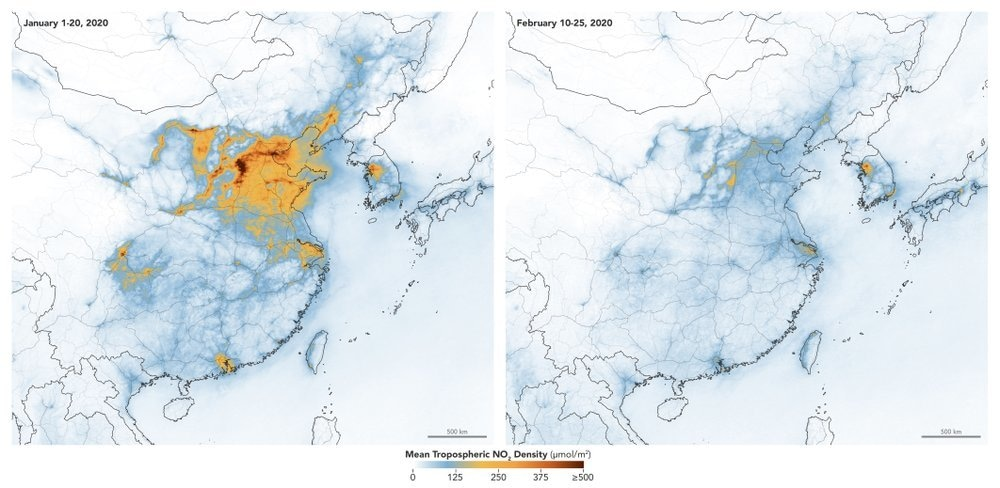 These maps made available by NASA show concentrations of nitrogen dioxide across China from January 1-20, 2020, before the quarantine against Covid-19 and February 10-25, during the quarantine. — AP