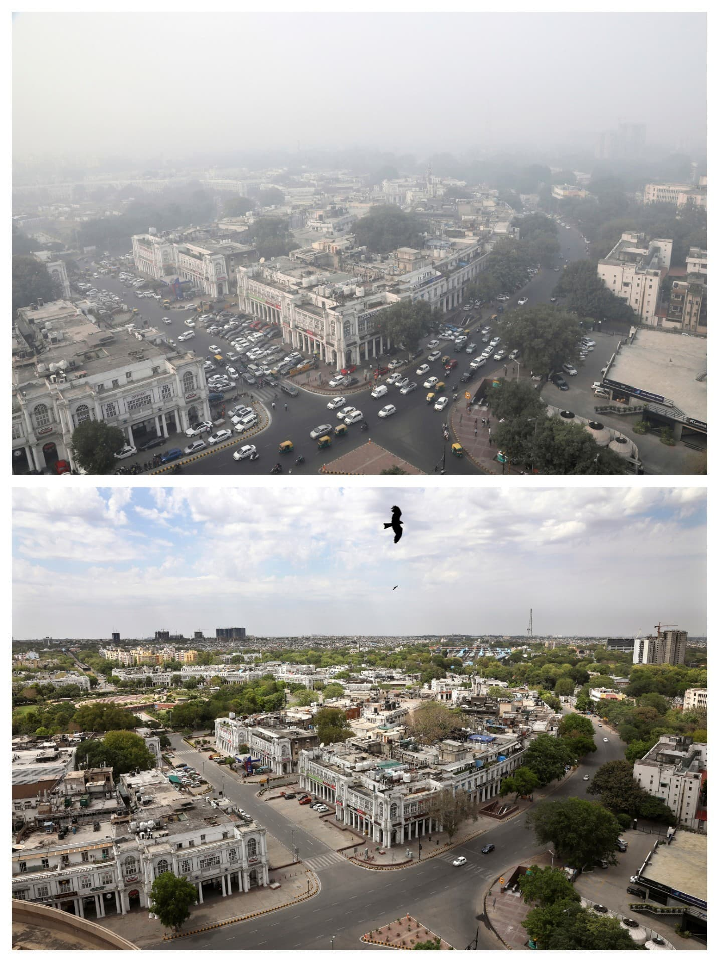 This combination of November 1, 2019, top, and April 20, 2020 photos shows New Delhi's skyline. — AP
