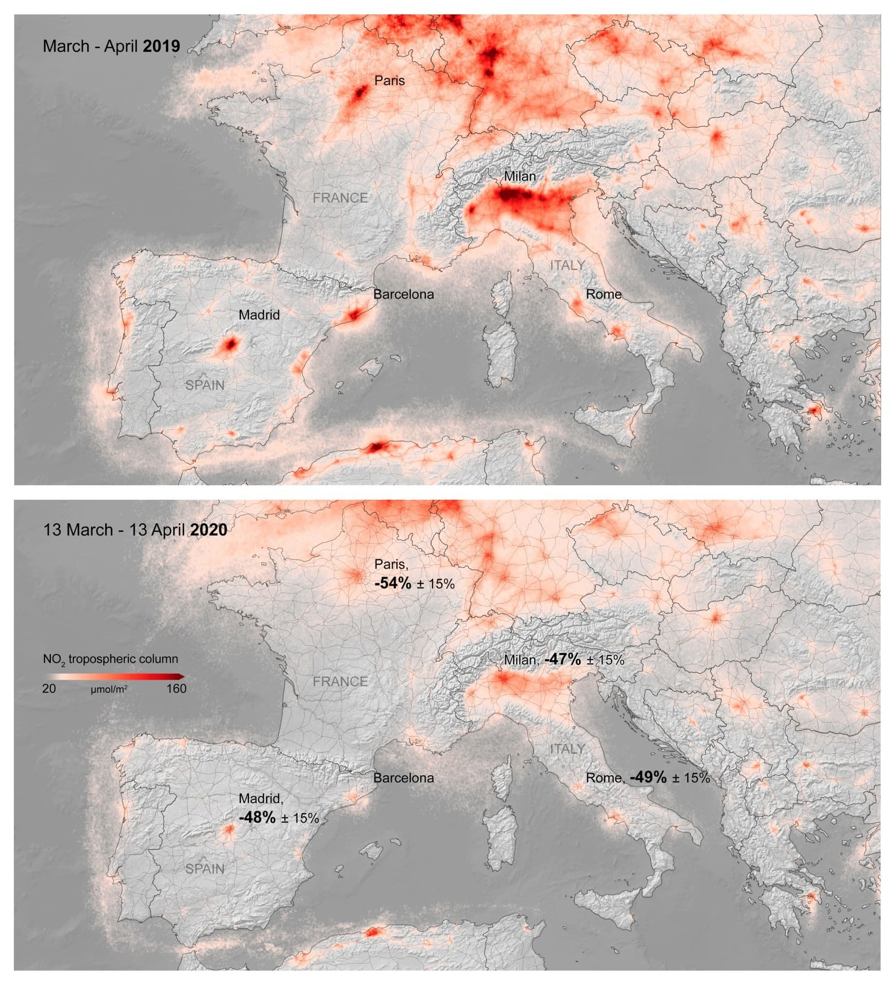 These maps made available by the Royal Netherlands Meteorological Institute and European Space agency show the average nitrogen dioxide concentrations over Europe in March-April 2019, top, and from March 13-April 13, 2020 during a lockdown against Covid-19. — AP