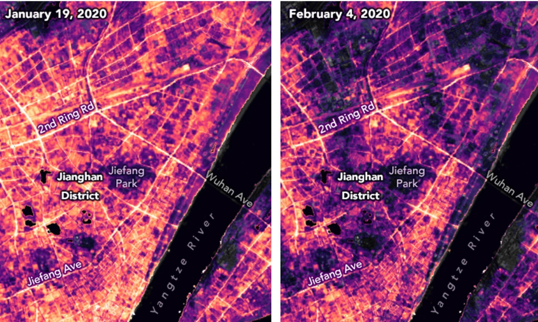 These satellite images made available by NASA show lighting changes in Jianghan District, a commercial area of Wuhan, China and nearby residential areas on January 19 before the Covid-19 quarantine and February 4, 2020, during the quarantine. — AP