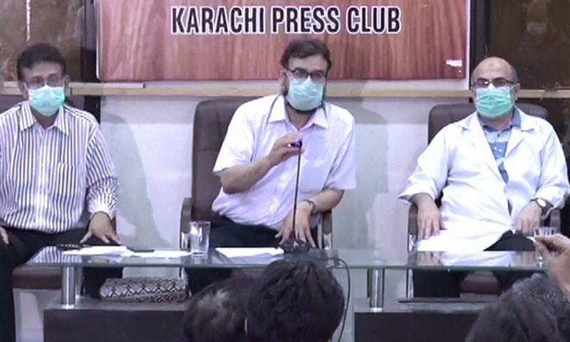 Doctors address a press conference at the Karachi Press Club on Wednesday. — DawnNewsTV