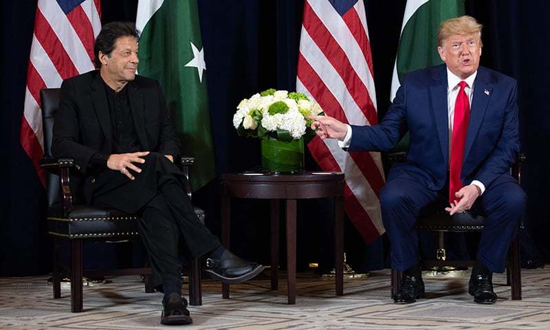 In this file photo US President Donald Trump (R) and Pakistani Prime Minister Imran Khan (L) hold a meeting on the sidelines of the UN General Assembly in New York, September 23, 2019. — AFP/ File