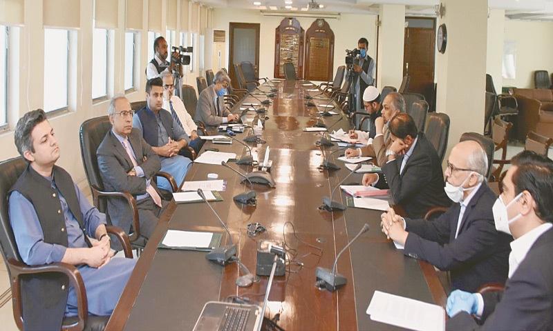 ISLAMABAD: Finance Adviser Dr Abdul Hafeez Shaikh chairs a meeting with CEOs of cellular companies on Thursday.