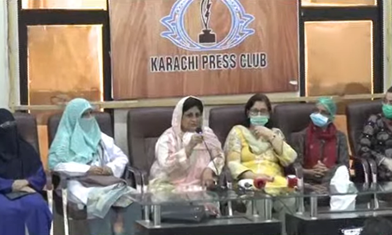 Female doctors addressing the media at the Karachi Press Club. — DawnNewsTV