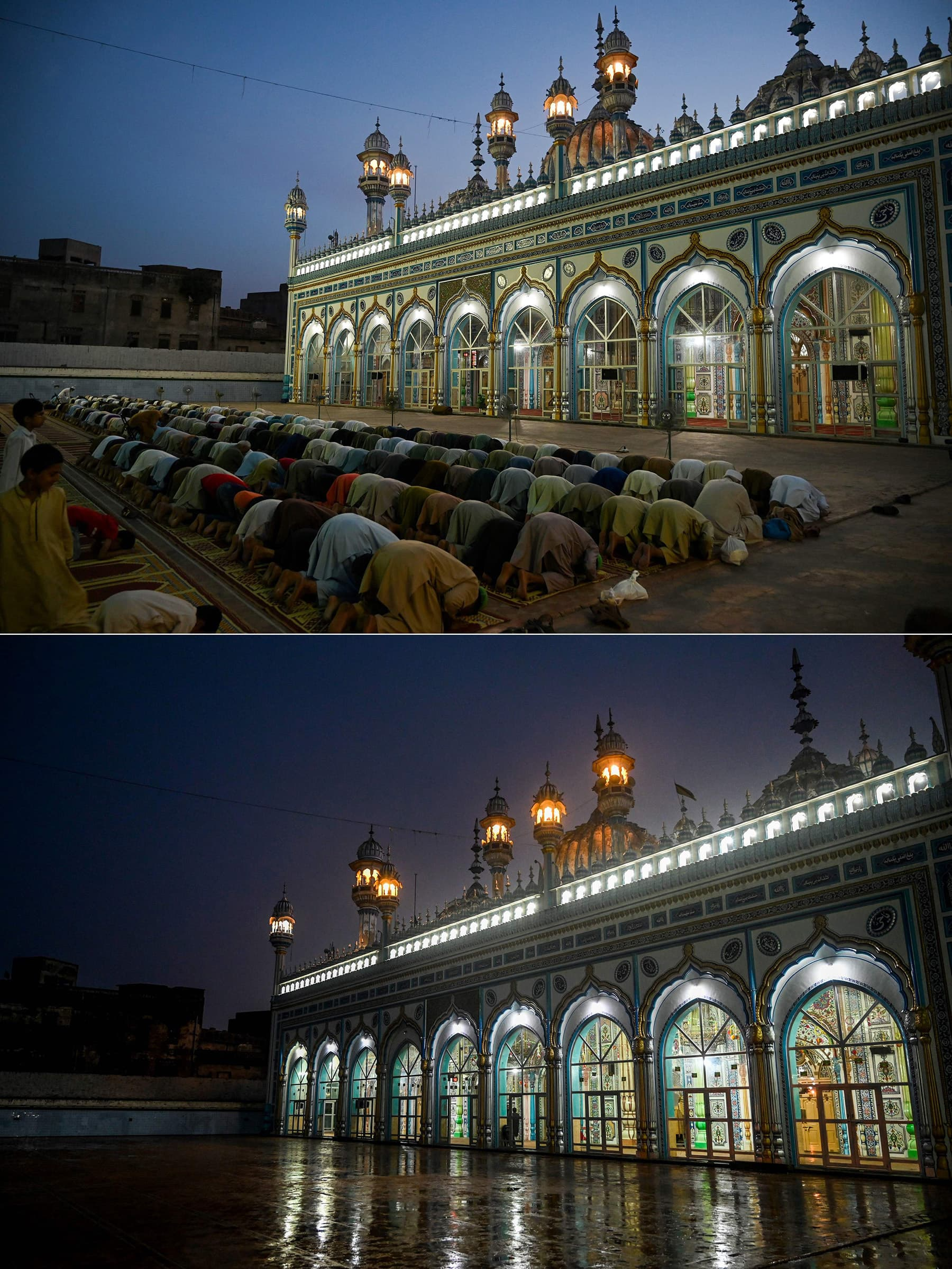This combination of pictures shows (up) devotees offer evening prayer after breaking their fast on the first day of Ramazan at the Jamia Mosque in Rawalpindi on May 7, 2019, and (bottom) a deserted Jamia Mosque on the first day of Ramazan on April 25, 2020. — AFP
