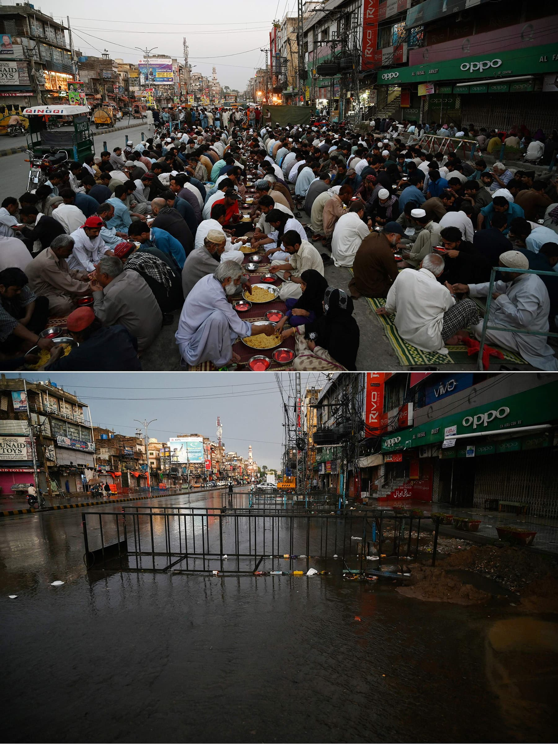 This combination of pictures shows (up) Muslims breaking their fast on the first day of Ramazan along a roadside in Rawalpindi on May 7, 2019, and (bottom) the same road deserted on the first day of Ramazan on April 25, 2020.  — AFP