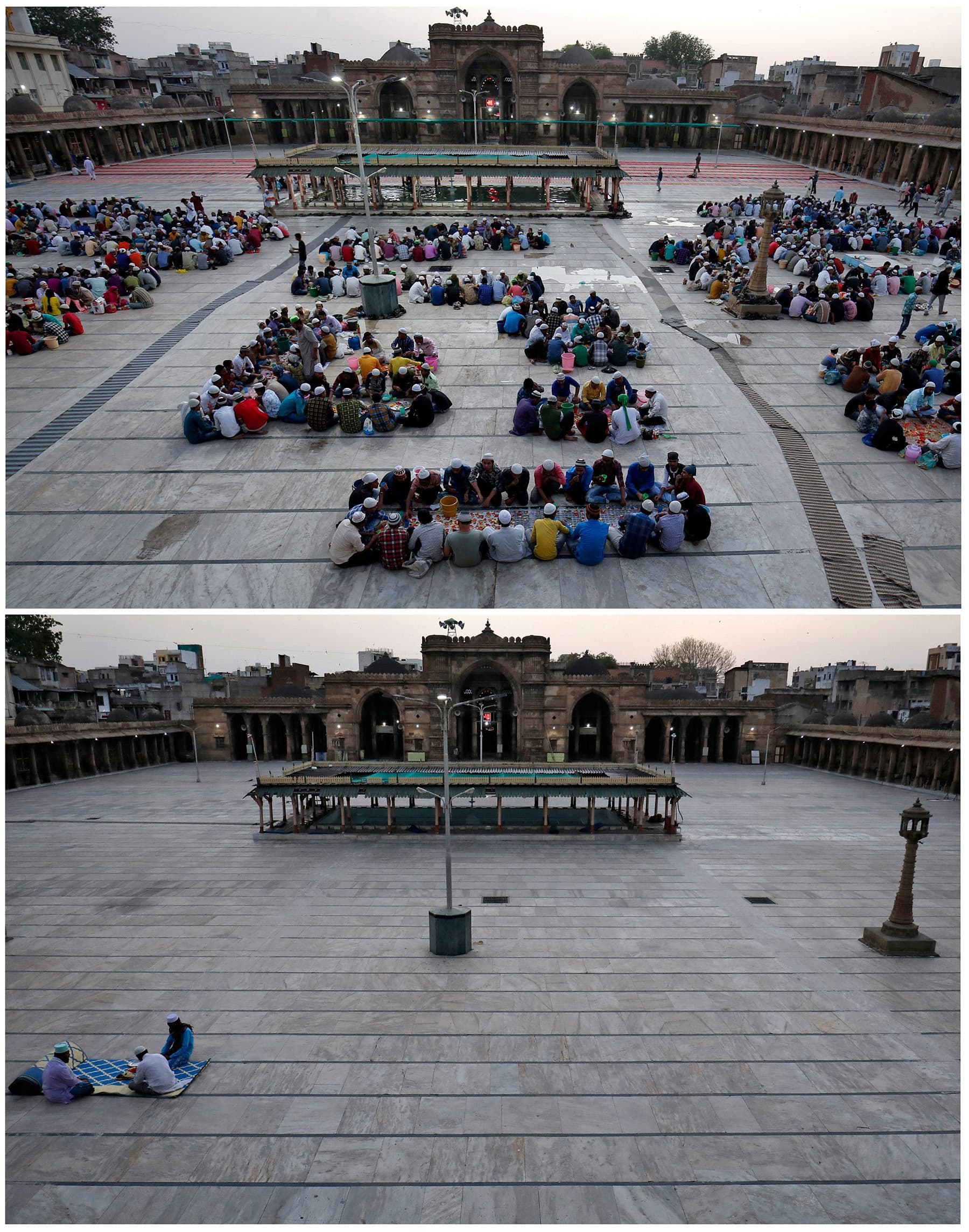 A combination picture shows people eating their Iftar meals inside Juma Masjid on the first day of Ramazan May 7, 2019 and during a nationwide lockdown to slow the spreading of the coronavirus in Ahmedabad, India, April 25, 2020. — Reuters