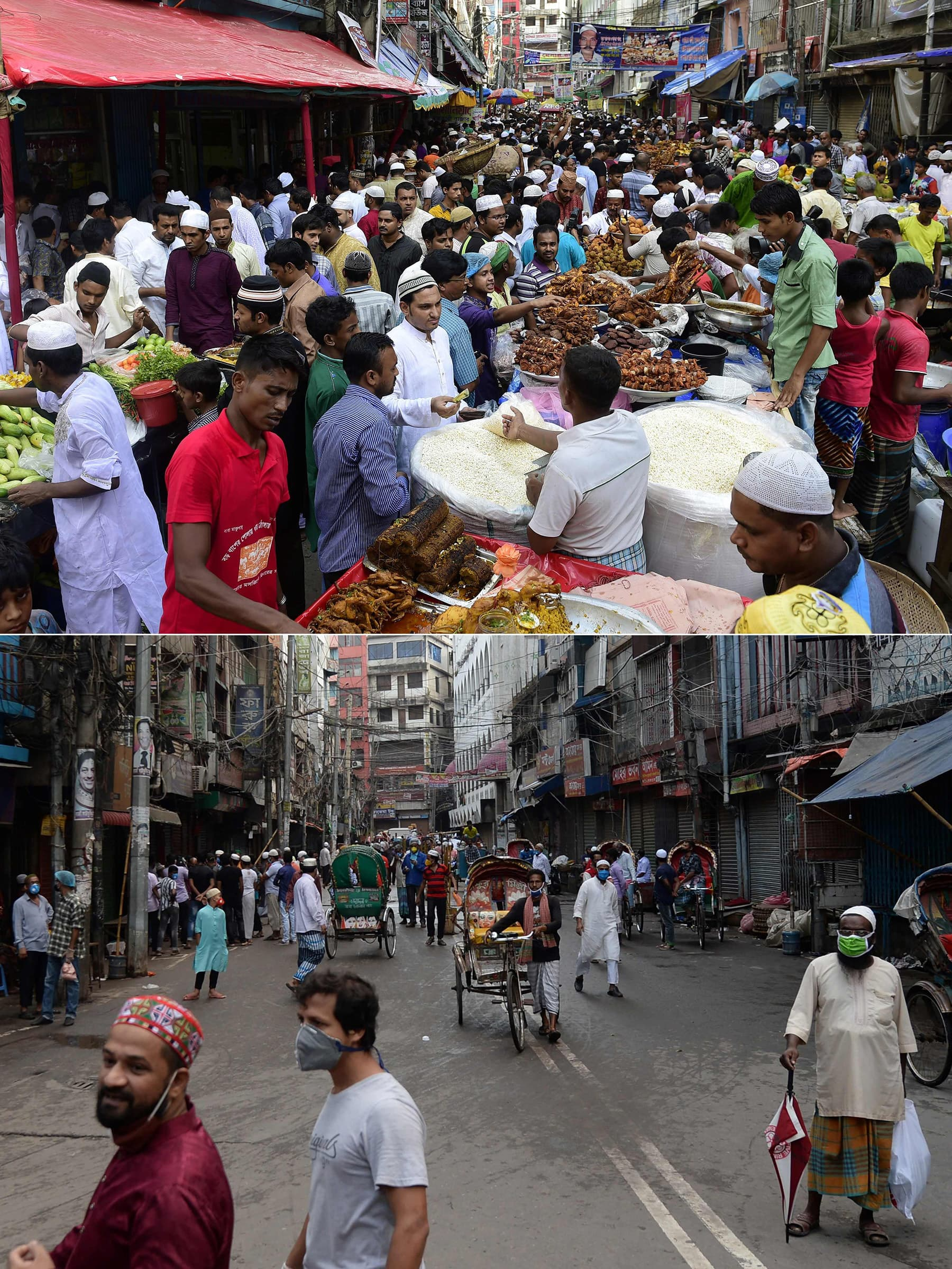 This combination of pictures shows (up) people buying food for Iftar during Ramazan at a street in Dhaka on July 19, 2015, and (bottom) people walking along the same street on April 25, 2020. — AFP