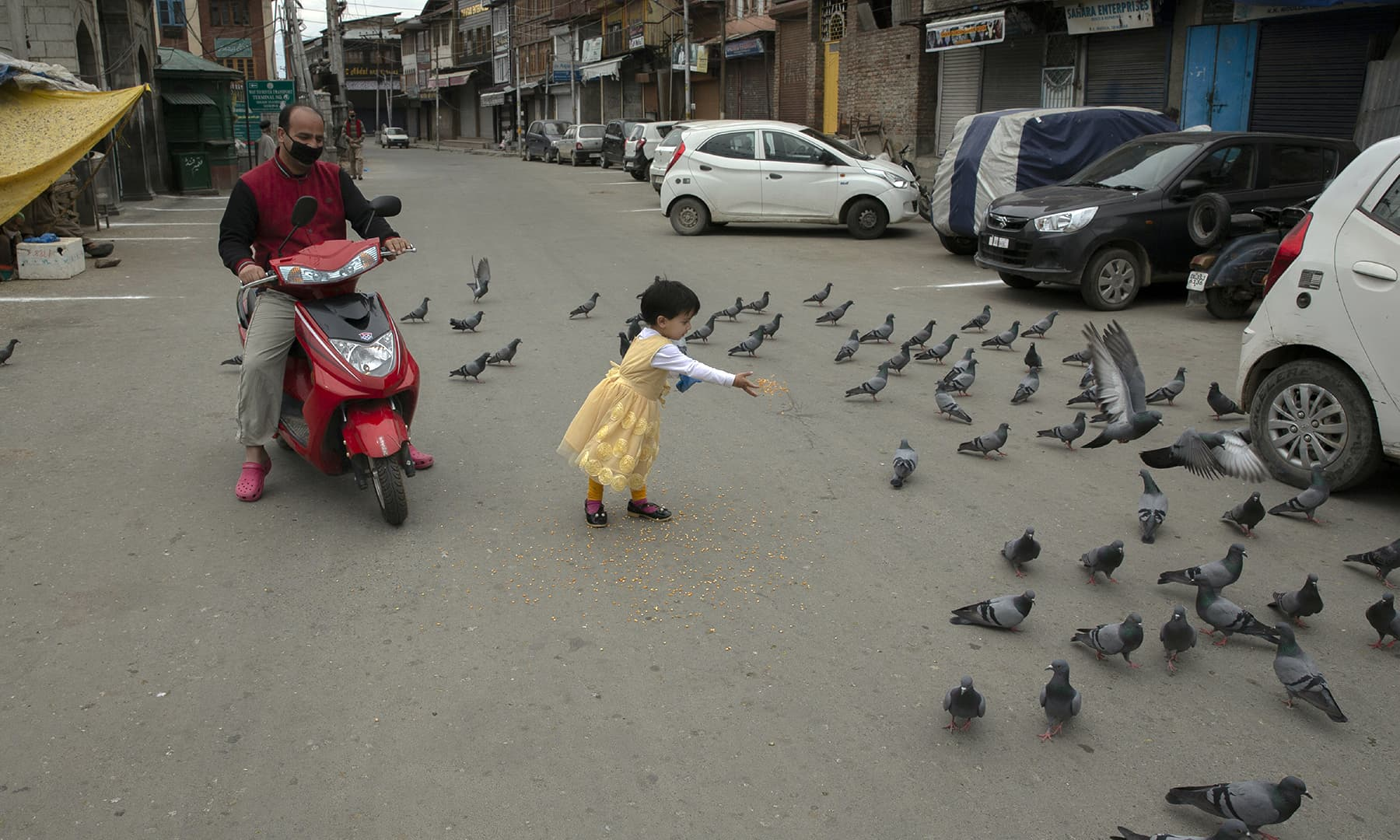 A Kashmiri girl feeds pigeons on a deserted road outside the closed Shah-e-Hamadan shrine on the first day of Ramazan in Srinagar, Indian-occupied Kashmir, Saturday. — AP