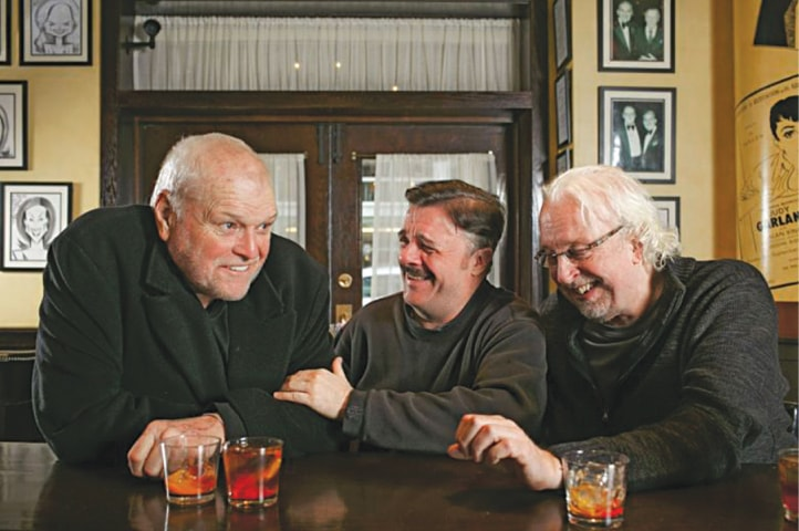 A 2015 photo shows Dennehy (left) with Nathan Lane (centre) and director Robert Falls in Chicago, where they were staging a revival of Eugene O'Neill's The Iceman Cometh
