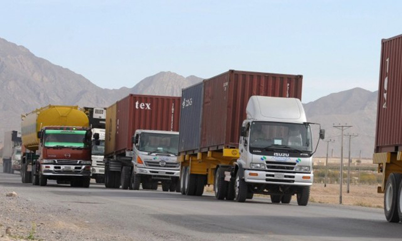 Trucks arrive after NCOC takes decision to Import food from Iran. — AFP/File