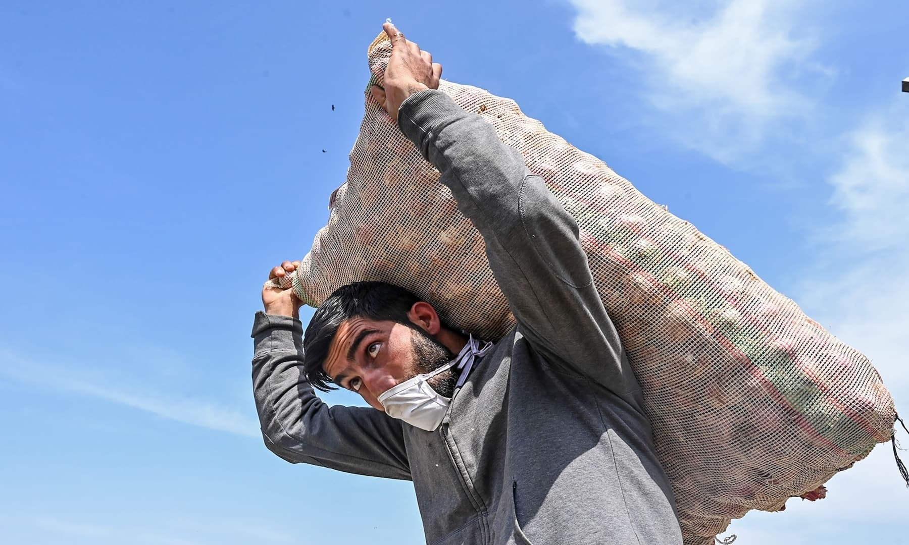 A labourer carries a sack of vegetables at a wholesale market on Labour Day in Srinagar, Indian-occupied Kashmir. — AFP