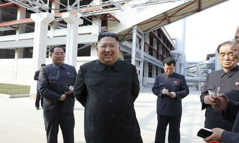 In this Friday, May 1, 2020, photo provided by the North Korean government, North Korean leader Kim Jong Un, centre, visits a fertiliser factory in South Pyongan, near Pyongyang, North Korea. — Korean Central News Agency/Korea News Service via AP