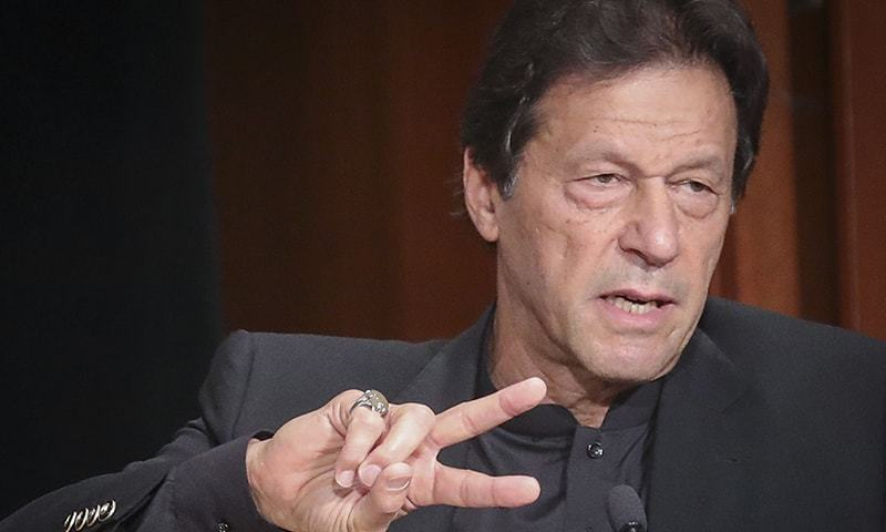 Prime Minister Imran Khan gestures as he delivers a speech at the Asia Society, during his New York visit for the United Nations General Assembly, Sept 26, 2019. — AP/File