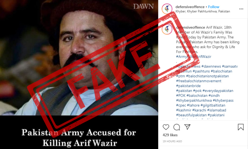 A screenshot of the fake Instagram post shared on May 3.